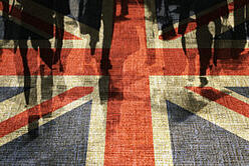 Conceptual image of shoppers overlaid onto UK flag.